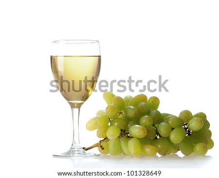 glass of vine on  white background