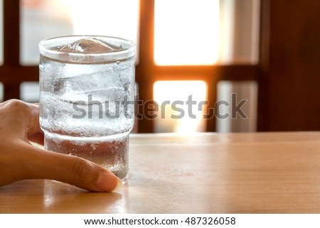 Glass of water and ice.