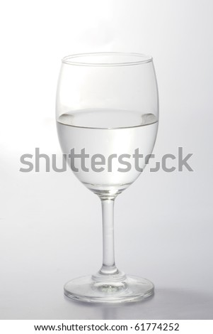 Glass of water half empty isolated on white background