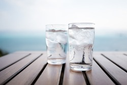 Glass of water on a table in a restaurant