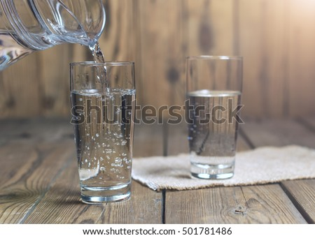 glass of water on a wooden...
