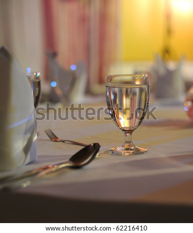 glass of water on banquet table