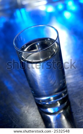 Glass of Water on Blue