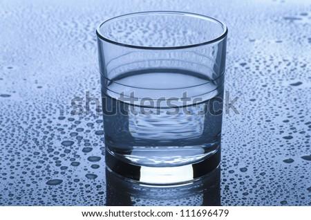 Glass of water on plexiglas table