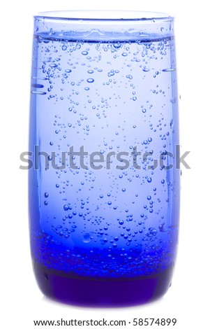 glass of water with bubbles on white background