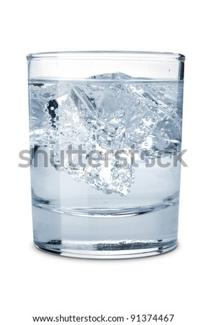 Glass of water with ice  isolated on a white background