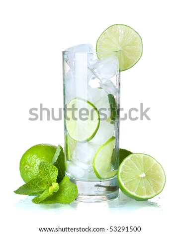Glass of water with lime, ice and mint. Isolated on white background.