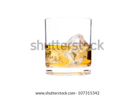 Glass of whiskey against a white background