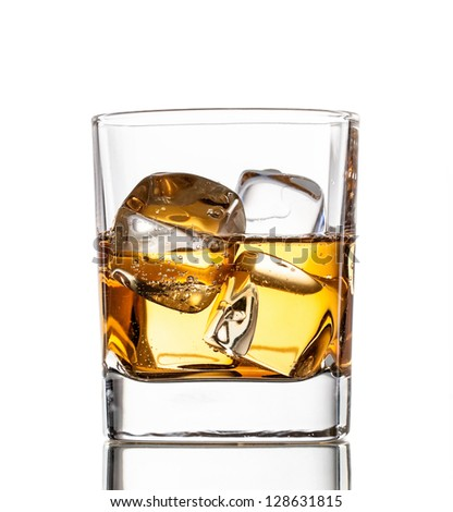Glass of whiskey, isolated on white background
