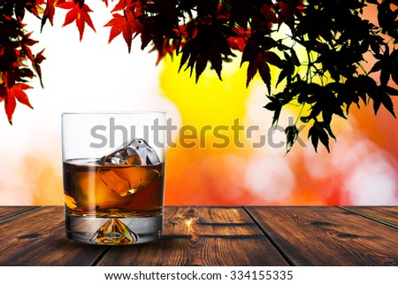 Glass of Whiskey on Wood Table