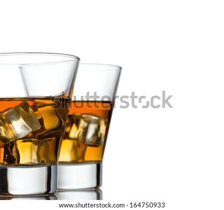 Glass of whiskey solated on white background #164750933