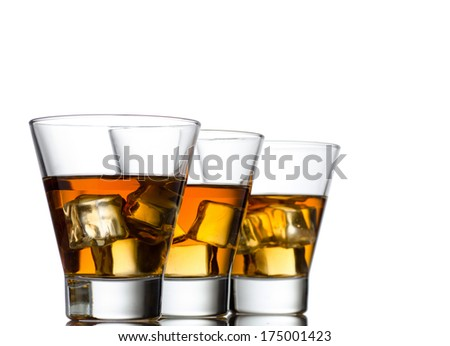 Glass of whiskey solated on white background #175001423