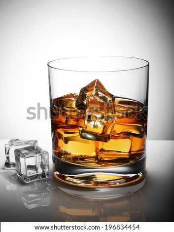 glass of whiskey with ice cubes