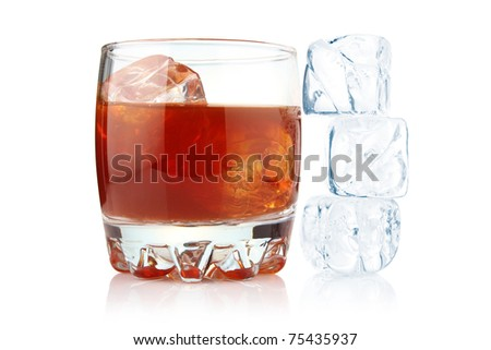 Glass of whiskey with ice cubes isolated on white background