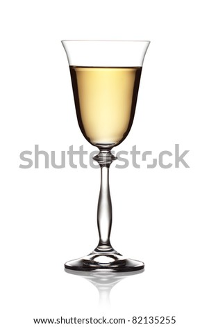 Glass of white wine on a white background. The file includes a clipping path.