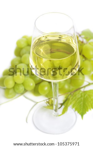 Glass of white wine with grapes and green leaves