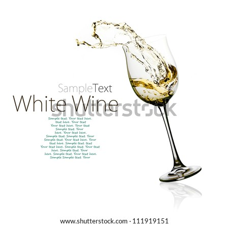 Glass of white wine with splashes on a w