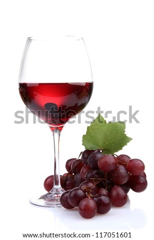 glass of wine and grapes, isolated on white