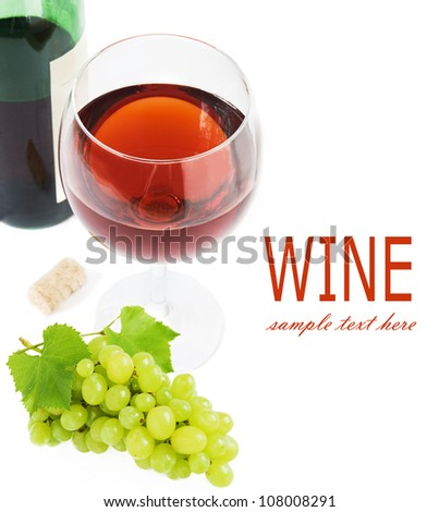 Glass of wine, bottle wine, grapes and corn isolated on white background - stock photo
