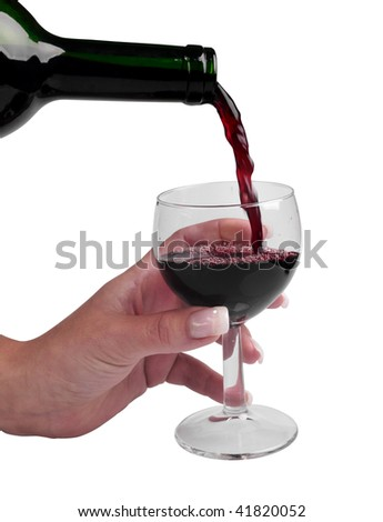 Glass of wine in woman hand on white background