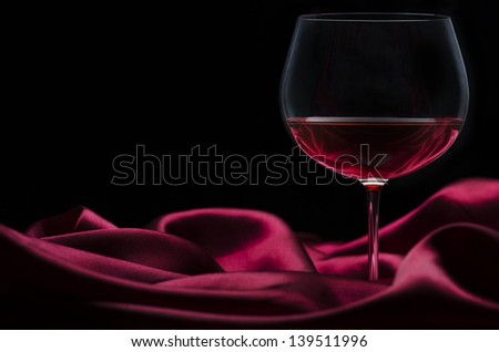 Glass of wine on red silk with dark background