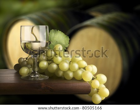 Glass of wine with cellars