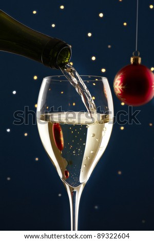 Glass of wine with christmas decoration