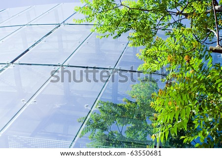 Glass office building with green reflections