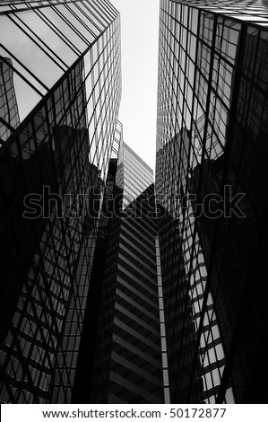 Glass office skyscrapers in black and white.