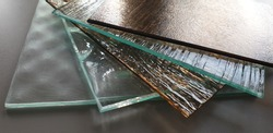 glass, ornamental, ornamental, decorative, for doors, for furniture, colored, transparent, made to measure,