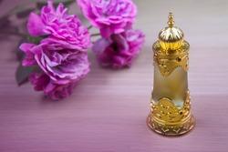 glass perfume bottle flower table