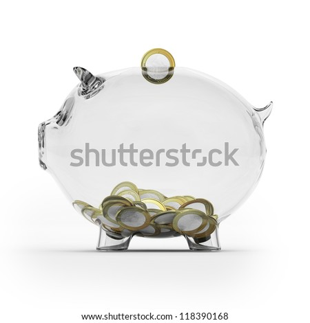 Glass piggy bank with euro coins. Side view