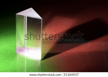 Glass Prism on Green and Red Background