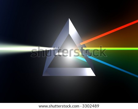 Glass prism splitting white light
