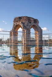 Glass protective floor of Caparra baths or thermae, Caceres, Extremadura, Spain