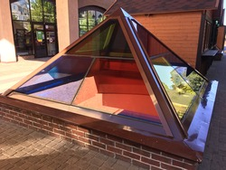 glass pyramid - metal roof structure