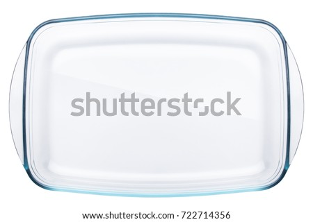glass refractory baking tray, clipping path, isolated on white background Foto d'archivio ©