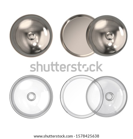 Glass restaurant cloche with open and with closed cap. Glass and stainless steel serving dome. Dishes for restaurants. Mock up. Top view. 3d illustration isolated on white background. Stock fotó ©
