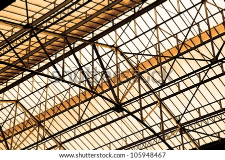 Glass roof of old industrial building