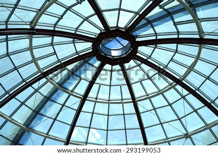 Glass roof top  / Dome of Diagonal shopping mall / Barcelona, Spain #293199053