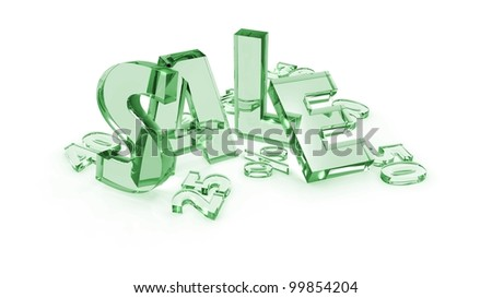 Glass Sale tags different colors in white background