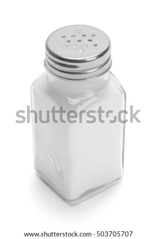 Glass Salt Shaker Isolated on White Background. Foto d'archivio ©