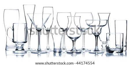 Glass series - All Cocktail Glasses isolated on white