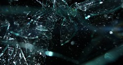 Glass shards fragmenting