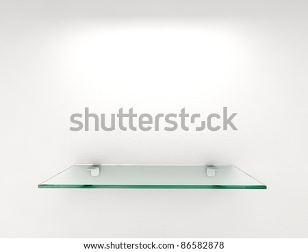 glass shelf with lighting on white wall