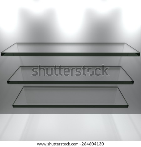 Glass shelves with white wall
