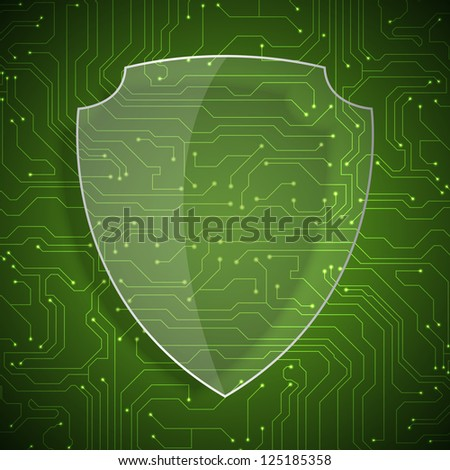 Glass shield on microchip background. Raster version of the loaded vector