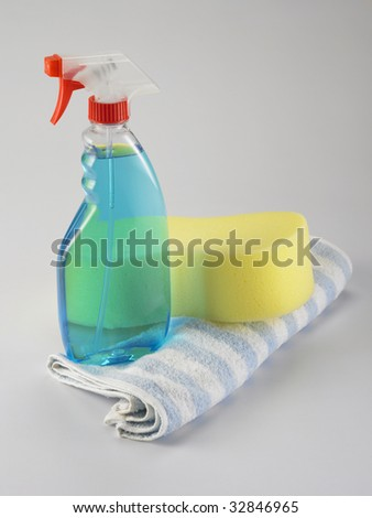 glass spray detergent on the plain background