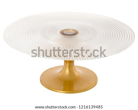Glass stand with a golden leg, for desserts. Isolated stand on white background #1216139485