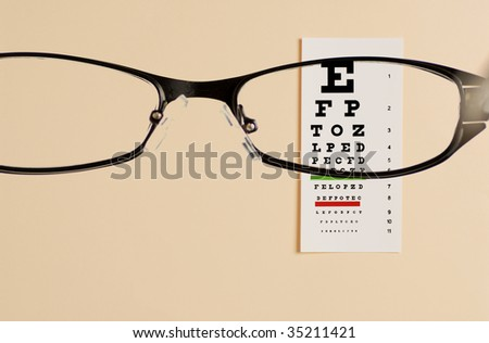 glass  testing  on eye exam chart